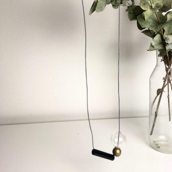 Skleněný náhrdelník Geometri Gold Long