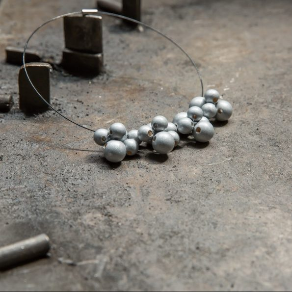 Dřevěné korále bubbles small silver